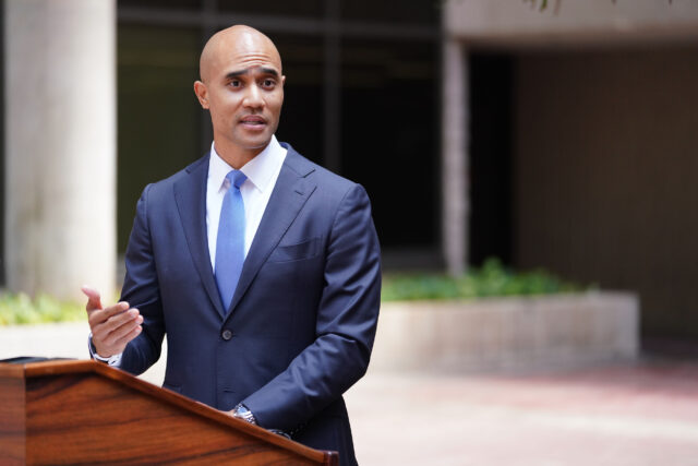US Attorney District of Hawaii, Kenji Price leads press conference charging Alexander Yuk Ching Ma with espionage at the Federal Building. August 17, 2020