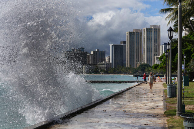 Plume of whitewash with Waikiki Beach skyline during a King Tide. High tide was about 4pm today with 3-5 foot waves. The surf today was very occasional which spared Honolulu from major flooding.