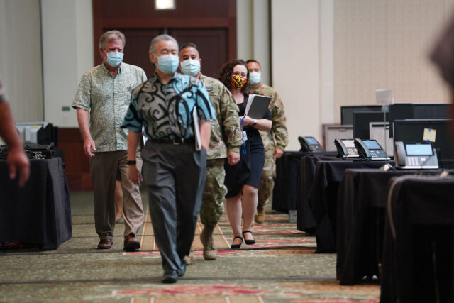 Department of Health Director Dr. Bruce Anderson, General Hara and Governor Ige walk into press conference before press conference on contact tracing and the newly opened spaces allowing for the ability to contact trace. August 19, 2020