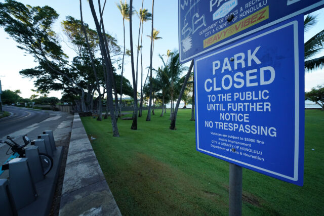 Mayor Caldwell ordered all parks and beaches closed. Sign at Leahi Park closed during COVID-19 pandemic.