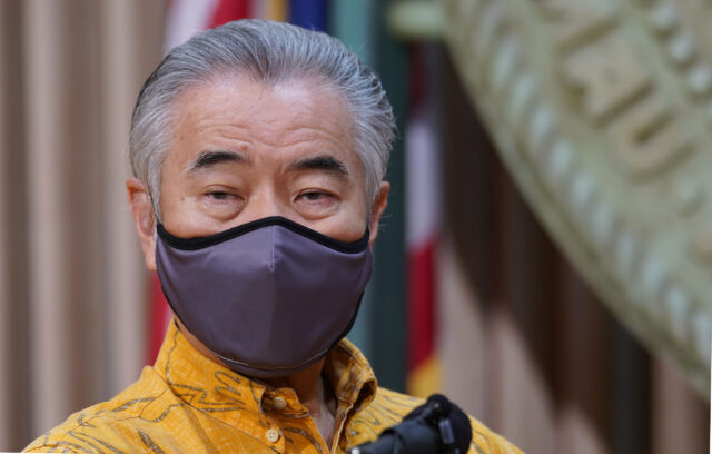 Masked Governor David Ige during joint press conference with Mayors from maui and Kauai counties during COVID-19 pandemic. August 20, 2020