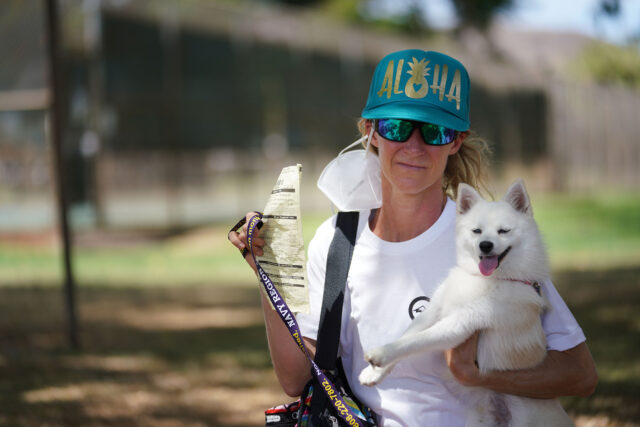 Alexandra Niewijk Suthard and Kiba her dog. Alexandra was cited by HPD for walking her dog in a park.