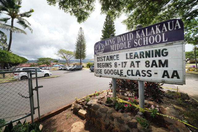 King David Kalakaua Middle school distance learning sign on the front of their campus during COVID-19 pandemic. August 24, 2020