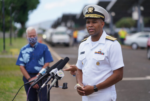 Vice Admiral Jerome Adams, US Surgeon General and Mayor Kirk Caldwell during COVID-19 surge testing press conference held at Leeward Community College. August 26, 2020
