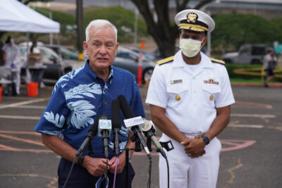Vice Admiral Jerome Adams US Surgeon General and Mayor Kirk Caldwell during COVID-19 surge testing press conference held at the Leeward Community College parking lot. August 26, 2020