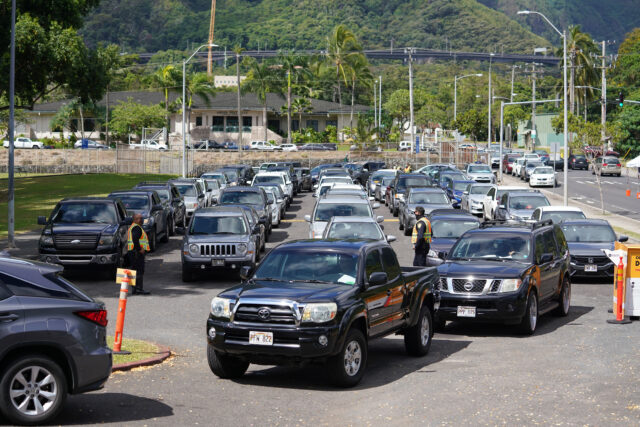 Cars backed up at Kaneohe District Park during COVID-19 surge testing. August 26, 2020