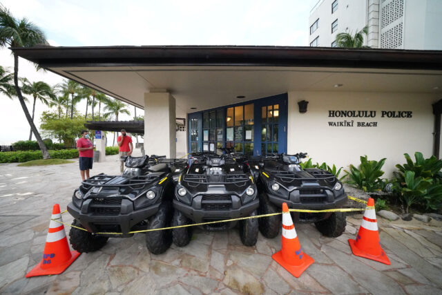 All Terrain Vehicles parked fronting the Honolulu Police Department Waikiki substation. The HPD uses these vehicles to cite people on the beach and parks. September 2, 2020