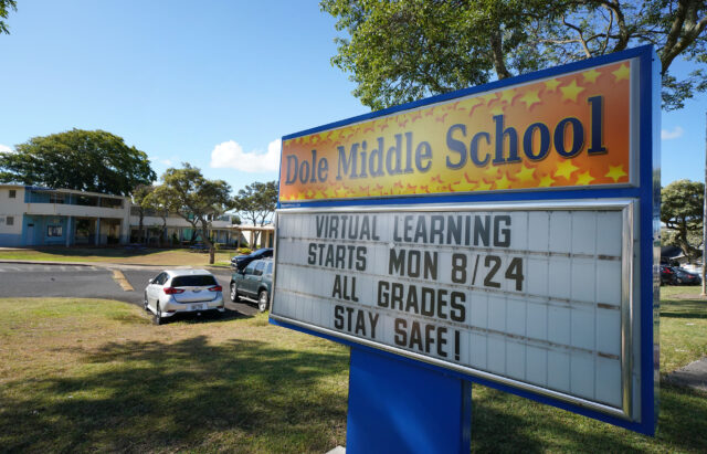 Dole Middle School sign 'Virtual Learning starts 8/24' during COVID-19 pandemic. September 3, 2020