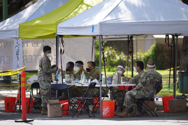 Hawaii Army National Guard personnel at COVID-19 surge testing held at Kapiolani Park. September 8, 2020