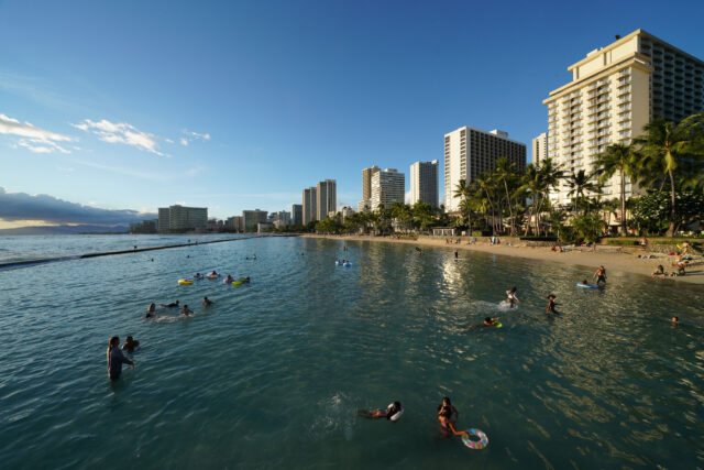 Sunday at Waikiki Beach. The beaches and parks reopened on friday after a spike in COVID-19 cases on Oahu. September 13, 2020