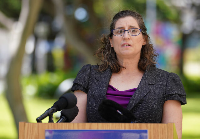 Department of Health Edpidemiologist Jennifer Smith at August 14, 2020 press conference.