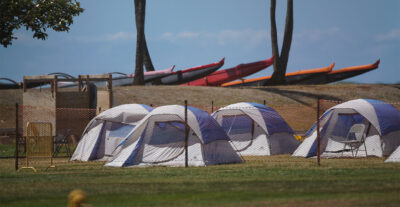 Tents at Keehi Lagoon Beach Park during COVID-19 pandemic. September 17, 2020