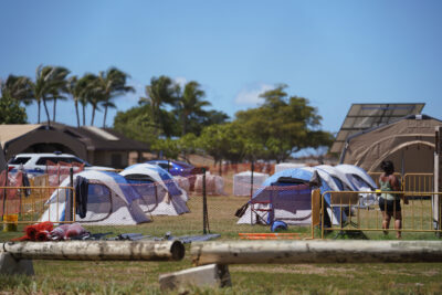 Tents and portable toilets at Keehi Lagoon Beach Park where COVID-19 quarantine patients are being housed. September 17, 2020
