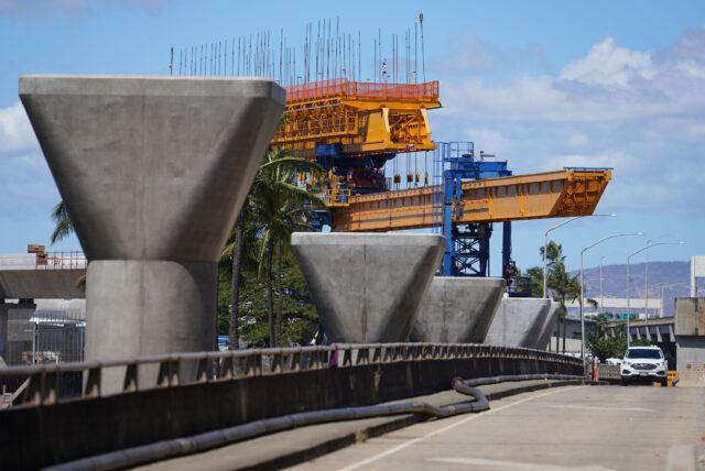 HART rail guideway columns along Nimitz Highway/Keehi Lagoon Beach Park area as the guideway heads towards the Honolulu city core. September 17, 2020