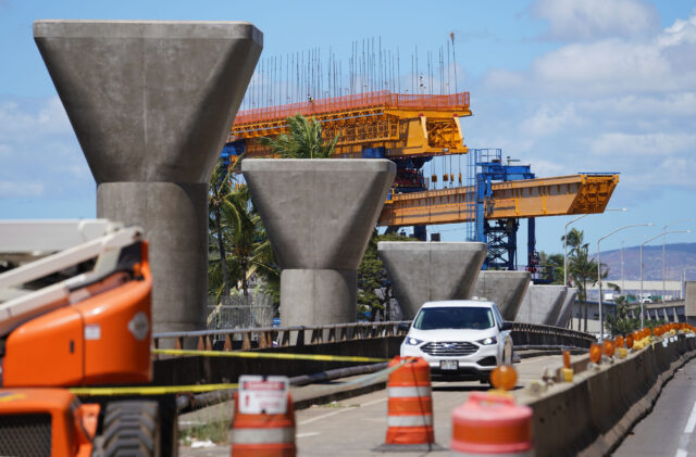 HART rail guideway columns near the Keehi Lagoon Beach Park / MIddle Street area. September 17, 2020