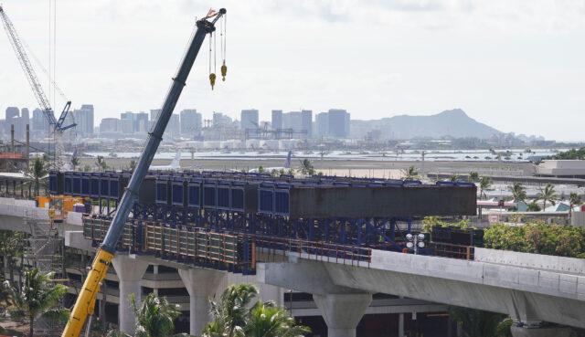 Rail guideway construction at the Daniel K. Inouye International Airport during the COVID-19 pandemic. September 18, 2020