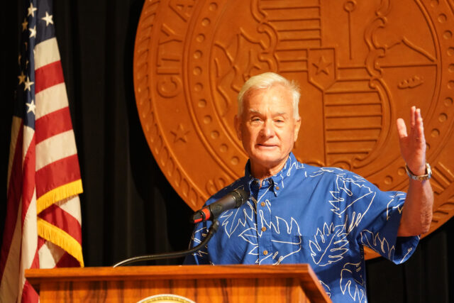 Mayor Kirk Caldwell announces that on thursday there will be a [artial reopening of Honolulu.