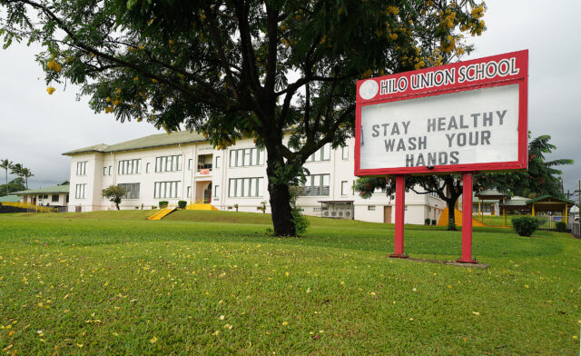 Hilo Union School sign reads 'Stay Healthy Wash your hands' during COVID-19 pandemic. Hilo, Hawaii. September 24, 2020