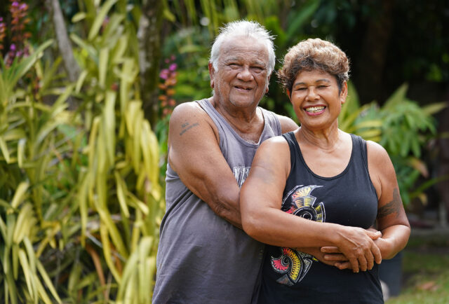 Portrait of James Anthony and his wife Grace Anthony at their farm located in Kahana Valley.