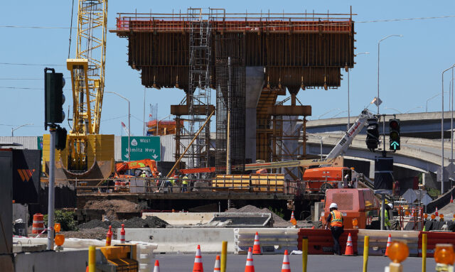 Rail guideway supports near the intersection of Nimitz Highway and Middle Street near the bus terminal. September 30, 2020