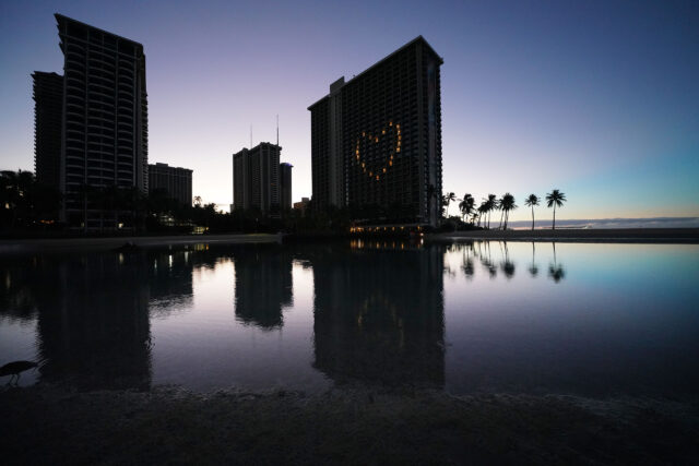 Heart symbol with lights at the Hilton Hawaiian Village Rainbow Tower during COVID-19 pandemic. October 1, 2020