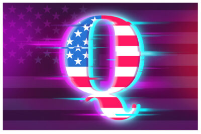 Q symbol with glitch effect illustration. Conspiracy theory illustration.