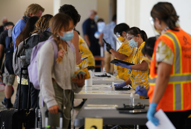 Arriving passengers at Daniel K. Inouye International Airport are screened if they have pre-travel testing required to avoid the 14-day traveler quarantine. Tests are only accepted from trusted testing and travel partners. October 15, 2020