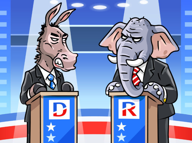 Vector illustration of a democratic donkey and a republican elephant in a TV studio debating at a lectern. They are angrily looking at each other. Concept for US politics, elections, television and the media, presidential elections, political parties, rivalry, conflicts and debates.