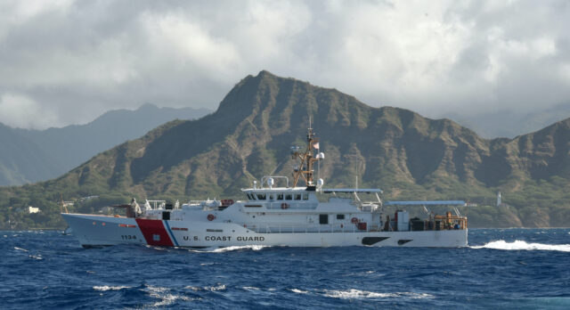 The U.S. Coast Guard Cutter William Hart (WPC 1134) passes by Diamond Head on its way to its homeport in Honolulu Aug. 17, 2019. William Hart is the last of the three fast-response cutters (FRCs) to be stationed in Hawaii. Three more are scheduled to be homeported in Guam, increasing the Coast Guard 14th District's total number of FRCs to six. (U.S. Coast Guard photo by Chief Petty Officer Sherri Eng/Released)