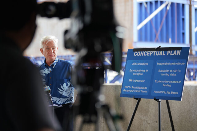 Mayor Kirk Caldwell speaks about his 'conceptual rail plan' during a press conference held at the Daniel K. Inouye International Airport parking garage.