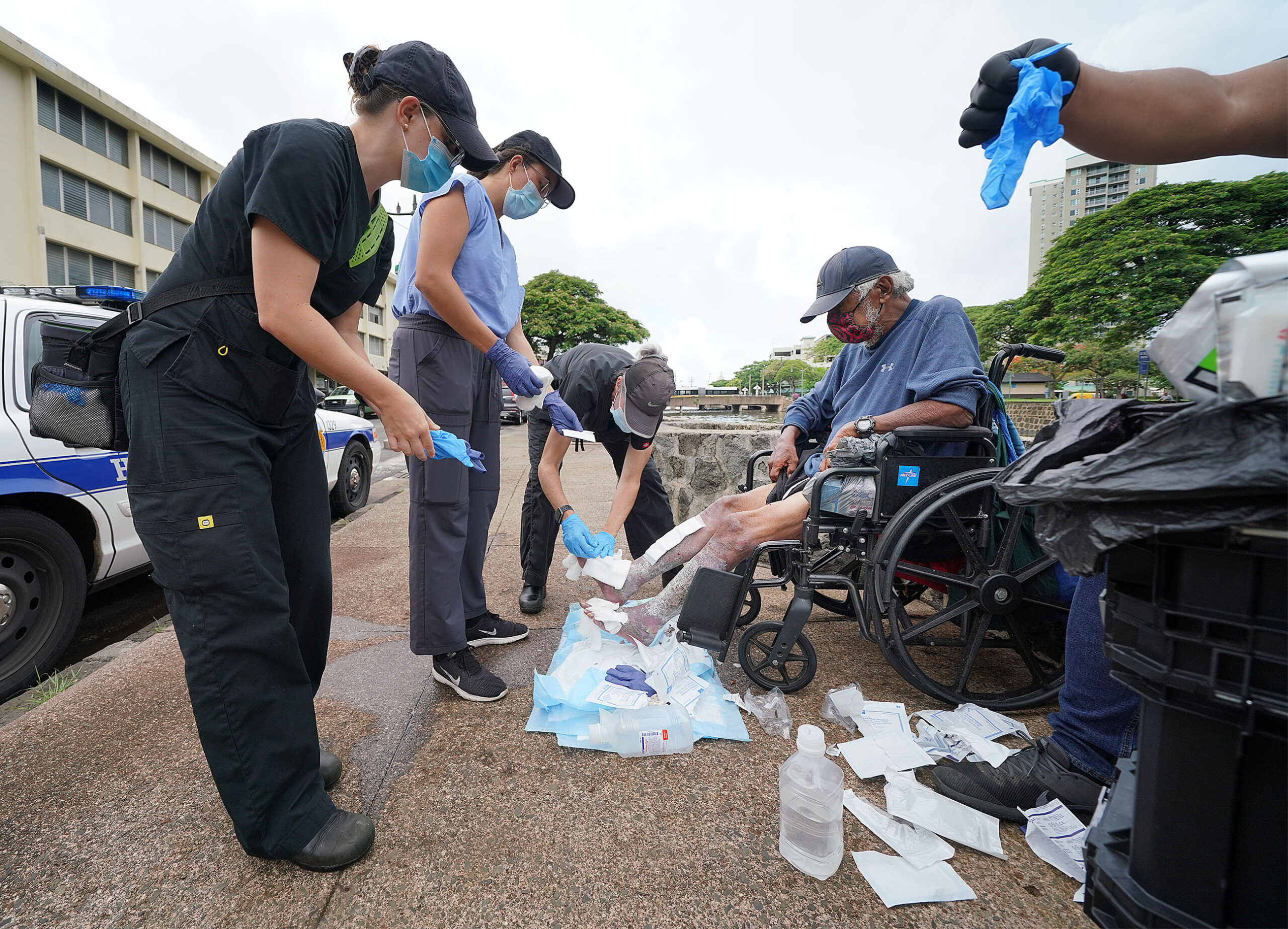 <p>The Hawaii Health and Harm Reduction Center's wound care and medical outreach team visits homeless along River Street twice a week to help them avoid trips to the emergency room. The team focuses on cleaning wounds but also orders prescription medications and antibiotics for patients in need.</p>