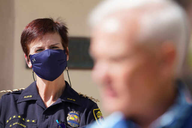 HPD Honolulu Police Chief Susan Ballard looks on during press conference as Mayor Caldwell speaks to media during COVID-19 pandemic. October 28, 2020