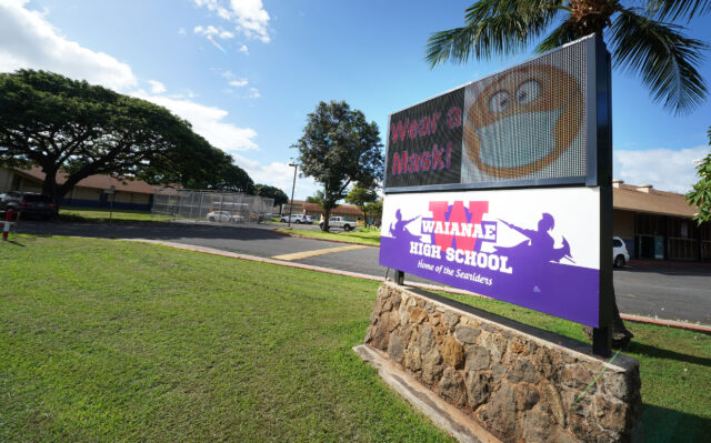 Waianae High School Sign reads 'Wear your Mask' during COVID-19 pandemic. October 30, 2020