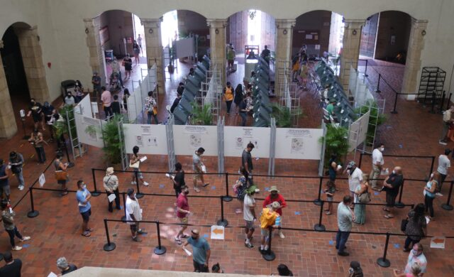 Voters wait in long lines to cast their ballots at the Honolulu Hale on Election Day Tuesday, November 3, 2020. (Ronen Zilberman photo Civil Beat)