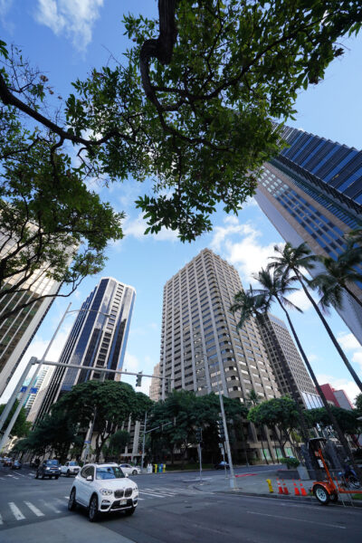 Pauahi Tower and views of downtown Honolulu.