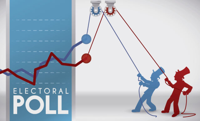 Banner with creative design for American presidential poll with contenders trying to rise their popular acceptance.