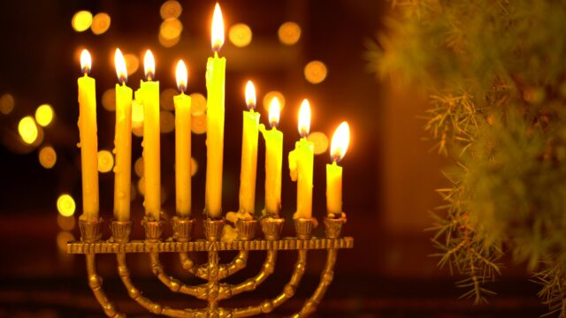 The eighth Night of Hanukkah. Eight lights in the menorah. Chanukah is the Jewish Festival of Lights