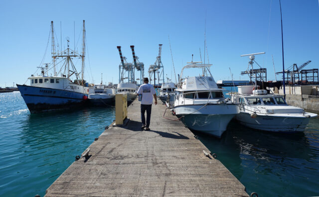 Fishing boats near Pier 38 at Honolulu Harbor.