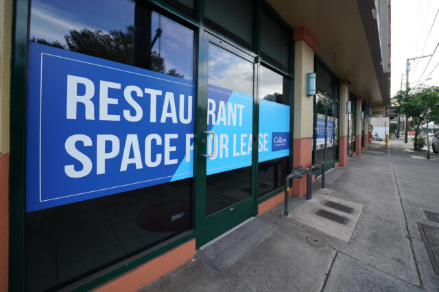 Restaurant Space for Lease sign at a commercial building located at the intersection of Isenberg/Beretania Street during the COVID-19 pandemic. December 8, 2020