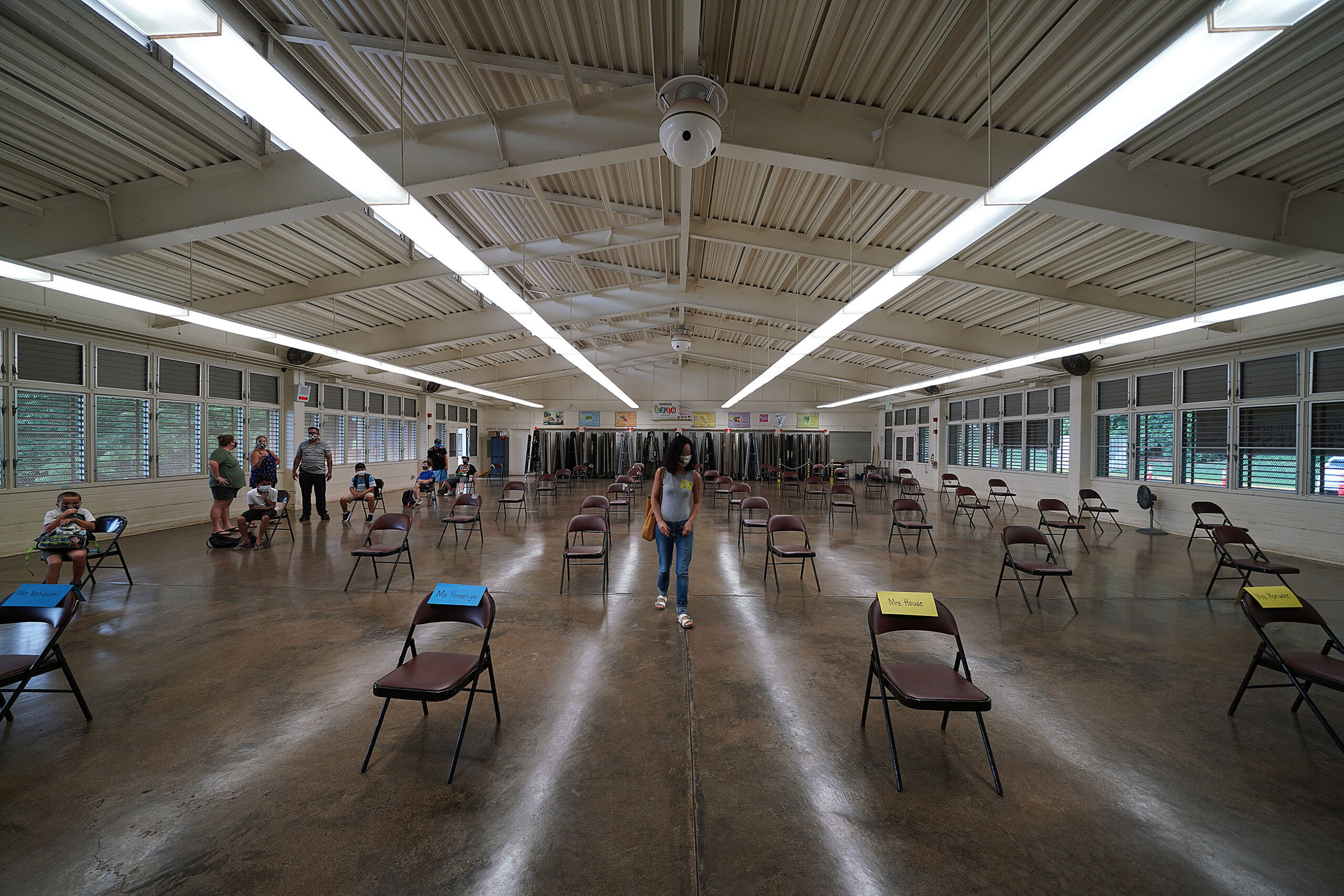 <p>Kaneohe Elementary and other schools around Hawaii endeavored to keep students socially distanced when they returned to school. But for much of the year, classes were held online.</p>