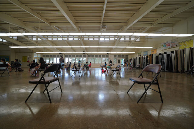 Kaneohe Elementary School cafeteria summer school during COVID-19 pandemic.