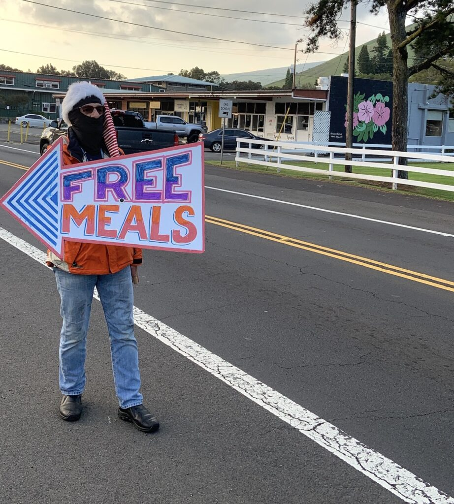 Volunteers for the Free Meal at Waimea Coffee Co. came together and rallies the support of the community providing more than 400 meals to residents, visitors and even remote kupuna in the North and South Kohala districts.