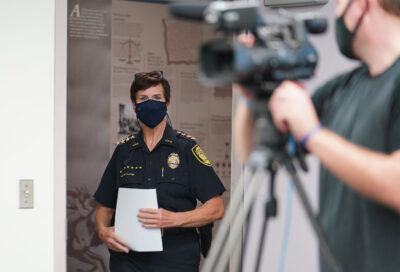 HPD Police Chief Susan Ballard walks into conference room before discussing CRU shooting death of a suspect at Ahuimanu today. December 28. 2020