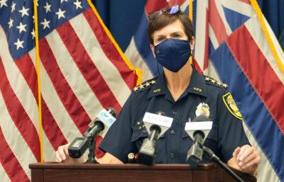 Honolulu Police Chief Susan Ballard speaks to media about the recent Ahuimanu shooting death.
