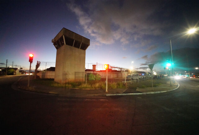 Oahu Community Correctional Center guard tower near the corner of Puuhale Street. January 6, 2021