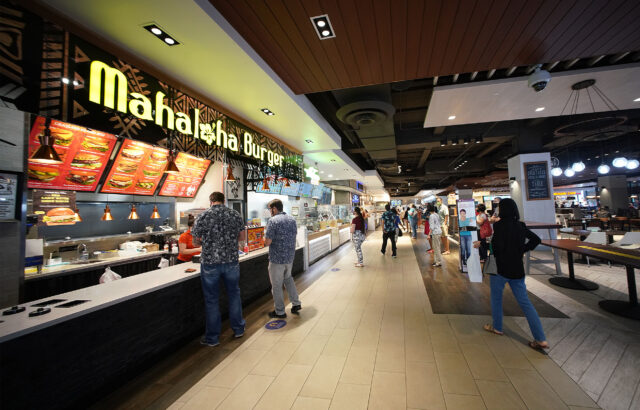 Restaurants open at The Lanai at Ala Moana Center with customers social distanced while waiting for their food orders. January 11, 2021