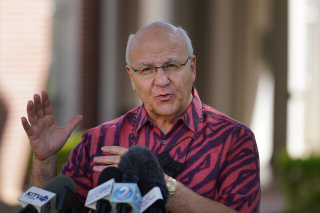 Mayor Rick Blangiardi gives his first press conference outside Honolulu Hale. January 14, 2021.