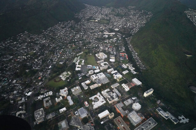 Aerial view of the University of Hawaii at Manoa campus. (bottom of frame).