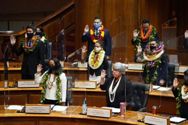 House members take their oath of office on opening day of the 2021 legislature.