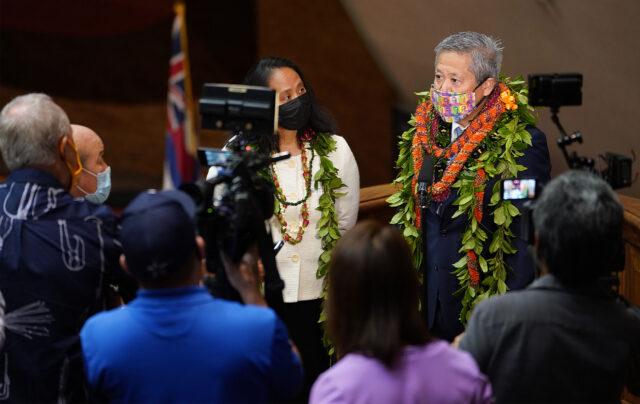 House Speaker Scott Saiki and Representative Della Au Bellatti speak to media after opening day of the legislature.